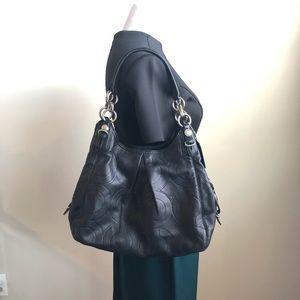 Coach Leather Embossed Shoulder Hobo Handbag Black